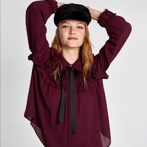 Zara Purple Ruffle Blouse with Bow and Pearls